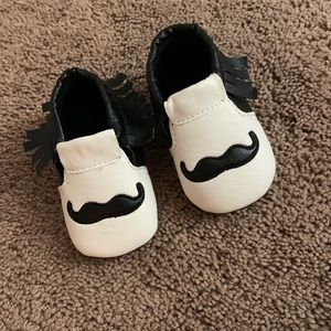 Baby Mustache Moccasins